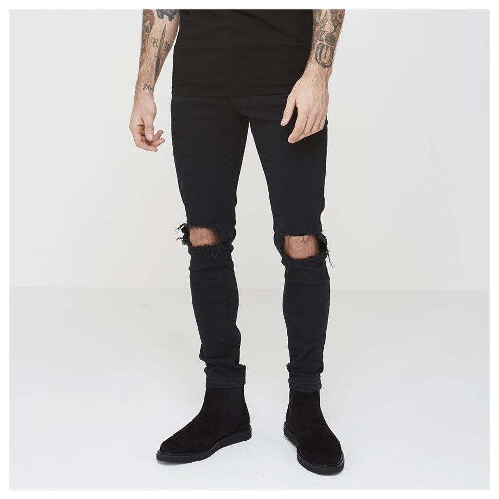 Maniere De Voir; Ripped Knee Jean - Black