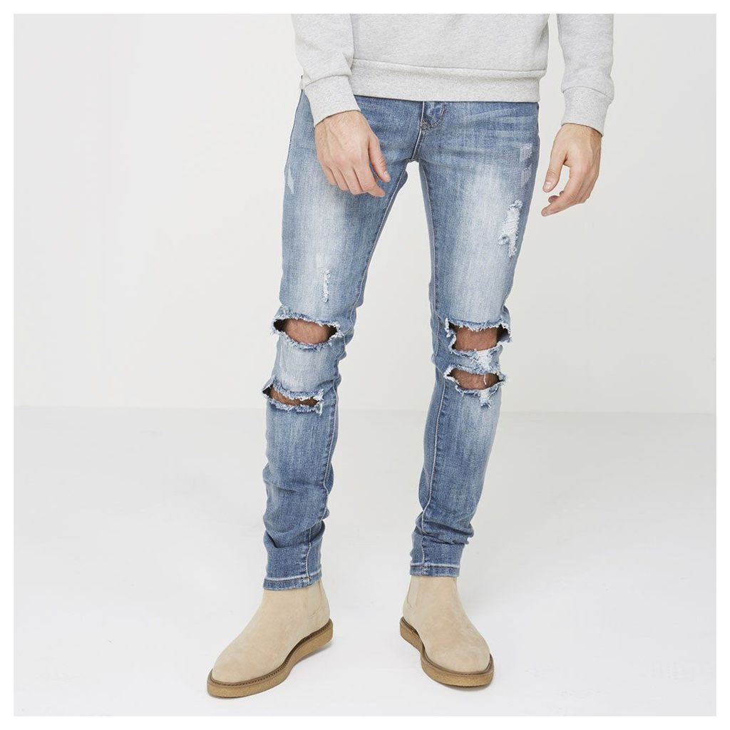 Maniere De Voir; Double Ripped Jean - Light Wash Blue Denim