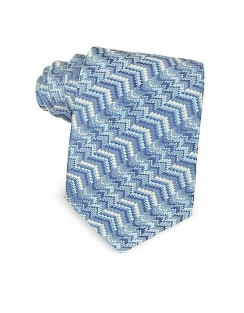 Missoni - Light Blue Printed Silk Narrow Tie