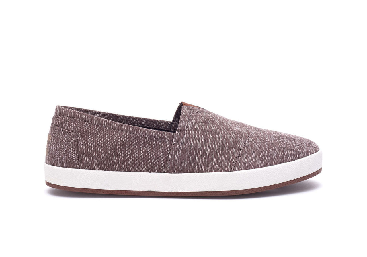 Brown Textured Textile Mens Avalon Slip-Ons