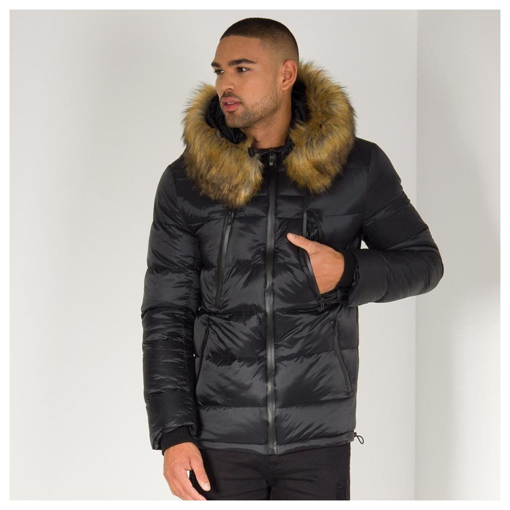 Maniere De Voir; Quilted Puffer Coat - Black/Tan