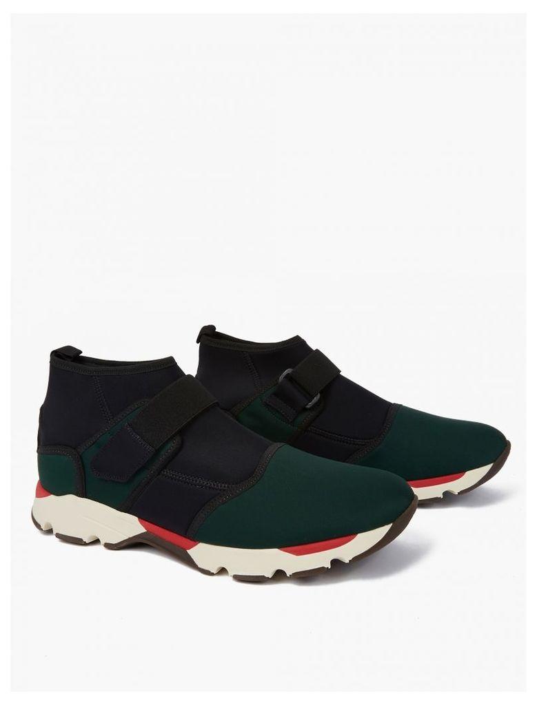 Navy Neoprene Mid-Top Sneakers