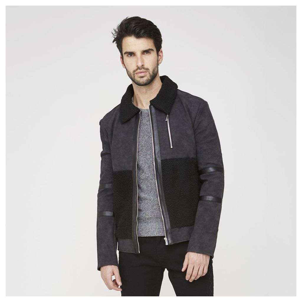 Maniere De Voir; Harrington Jacket - Black Shearling