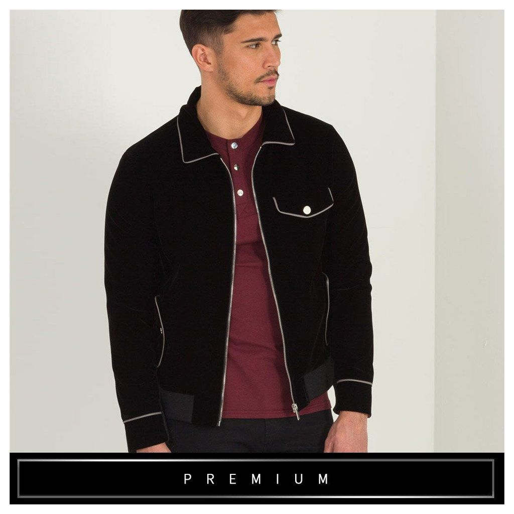Maniere De Voir; Velvet Piped Jacket - Black