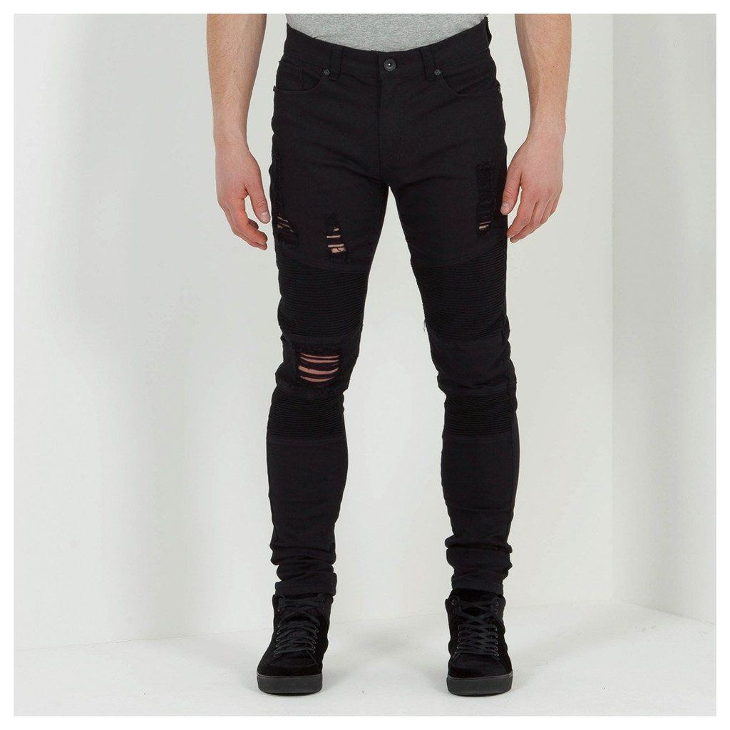 Maniere De Voir; Ribbed Distressed Jean - Black