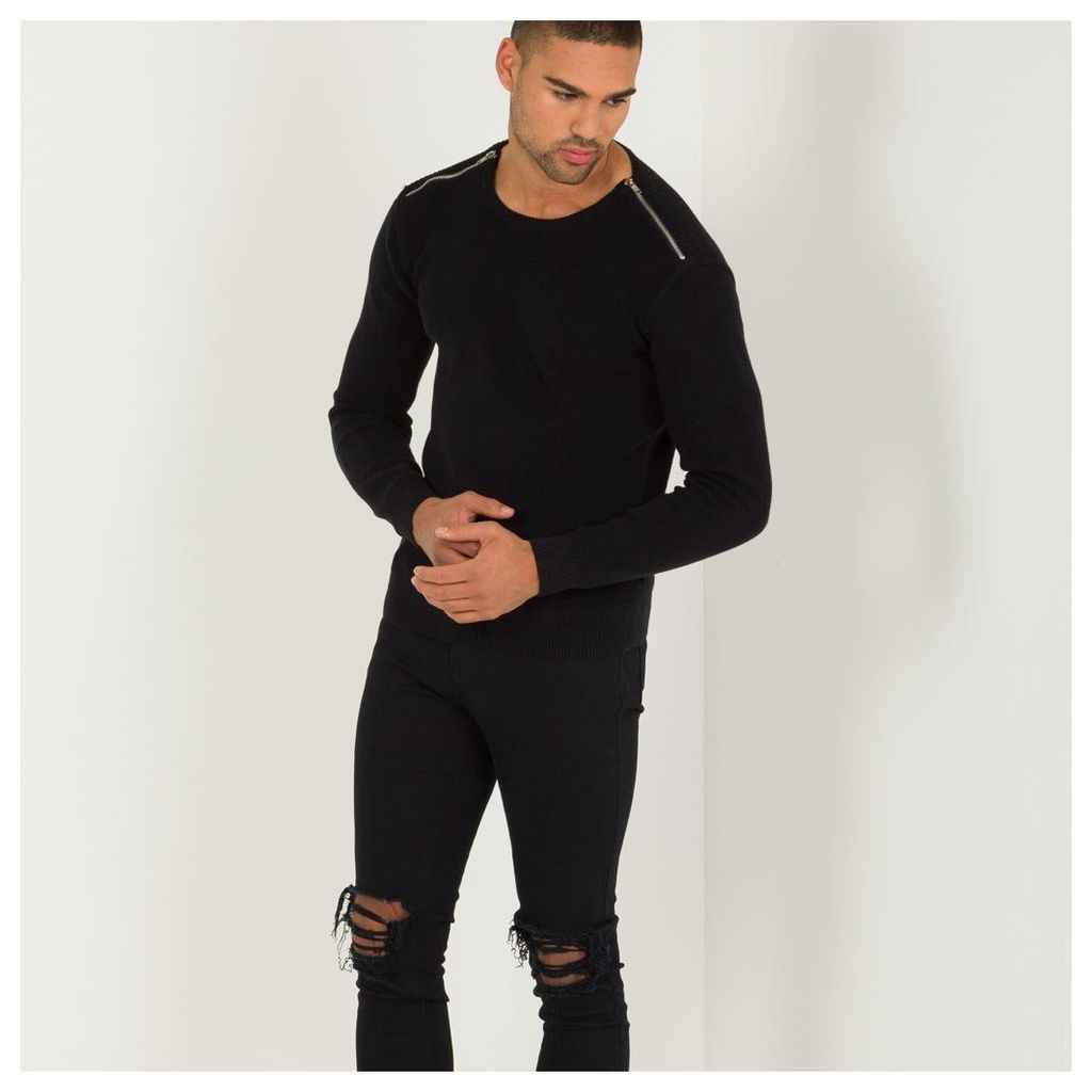 Maniere De Voir; Zipped Knitted Jumper - Black
