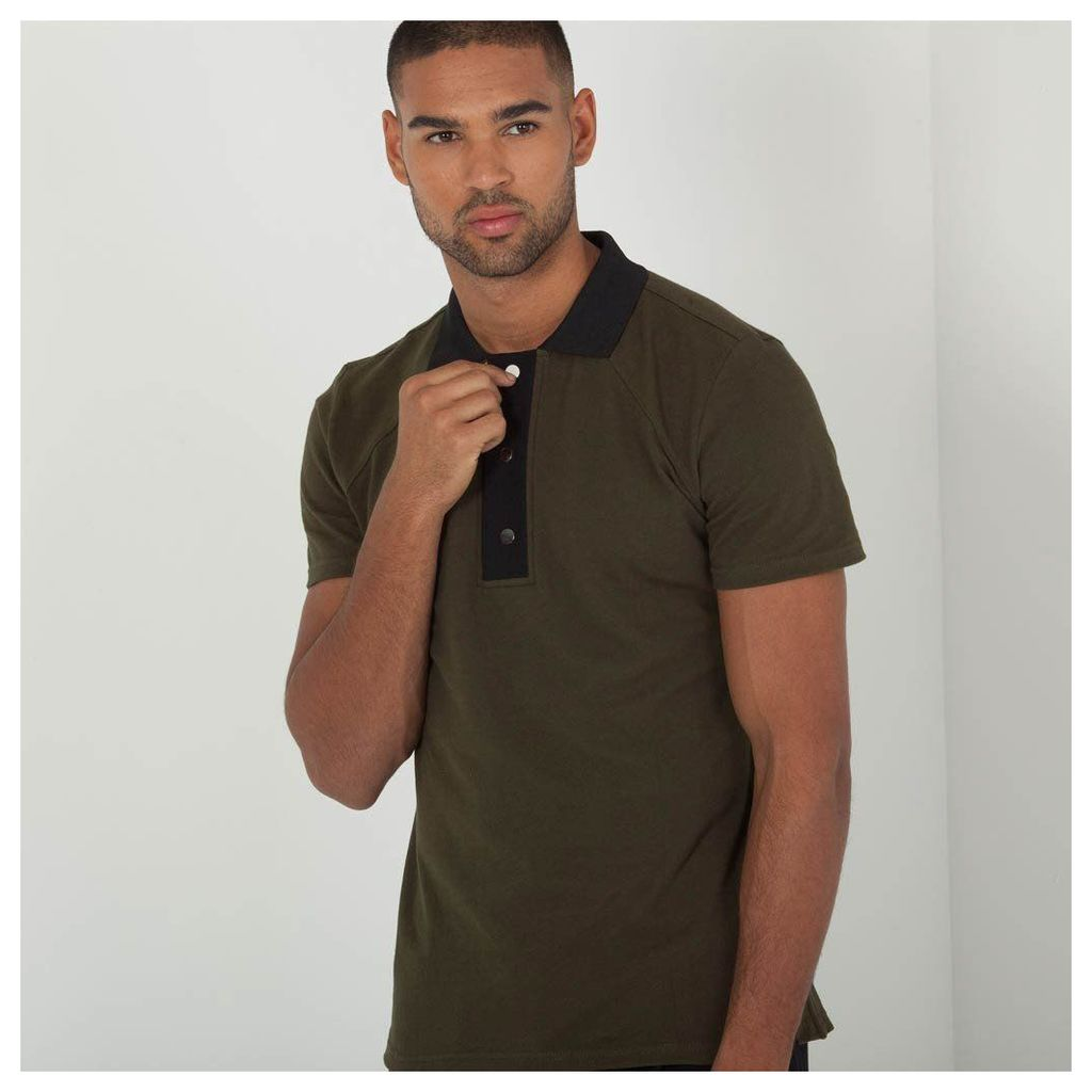 Maniere De Voir; Press Stud Polo Shirt - Khaki