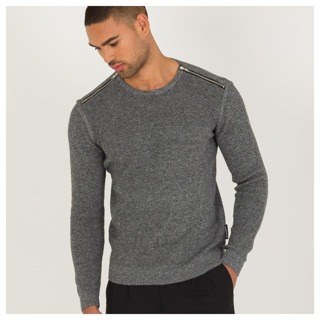 Maniere De Voir; Zipped Knitted Jumper - Grey