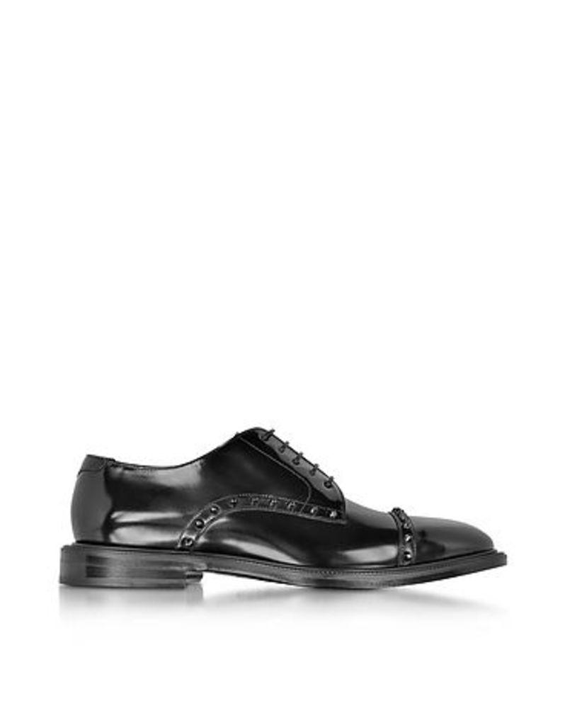 Jimmy Choo - Penn Black Shiny Leather Lace Up Derby Shoe w/Gunmetal Studs