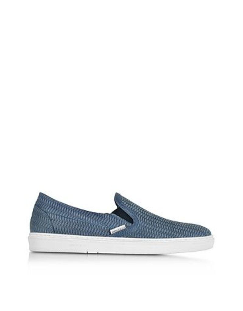 Jimmy Choo - Grove Jeans Woven Embossed Suede Slip On Sneaker