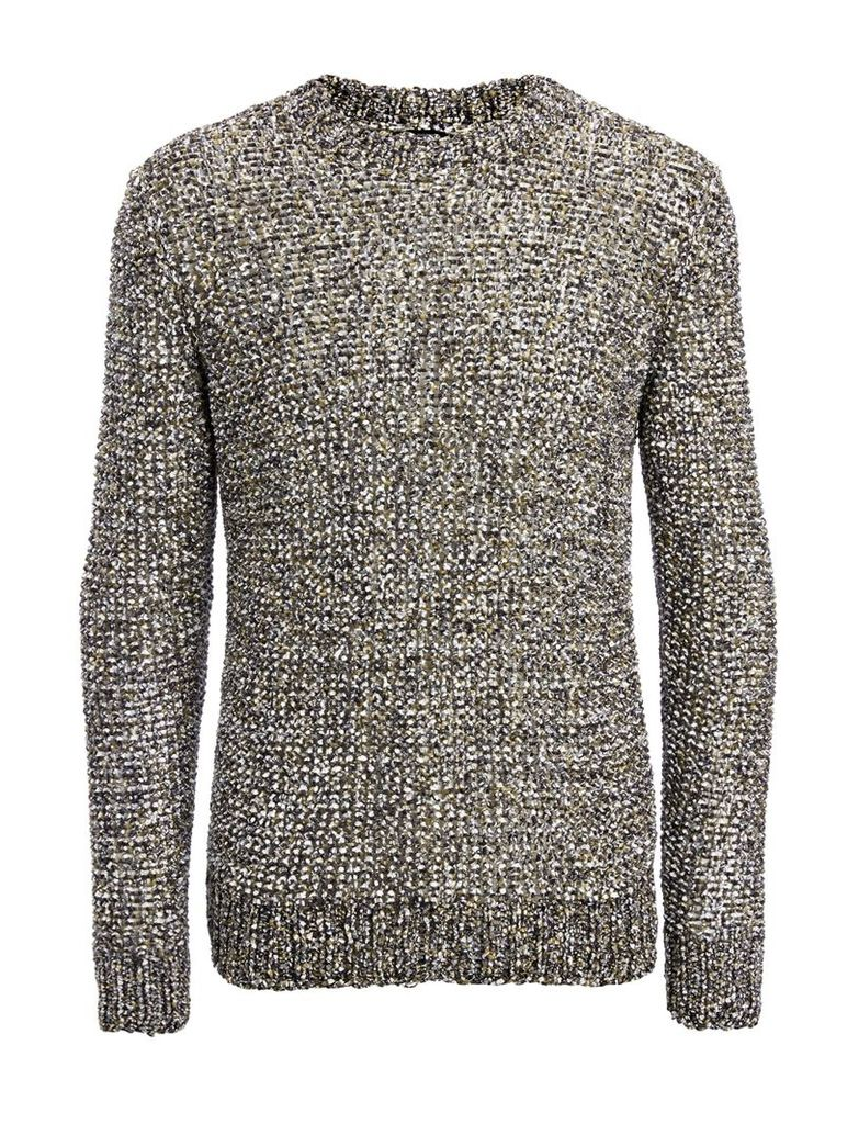 Paper Tweed Knit Sweater in Army