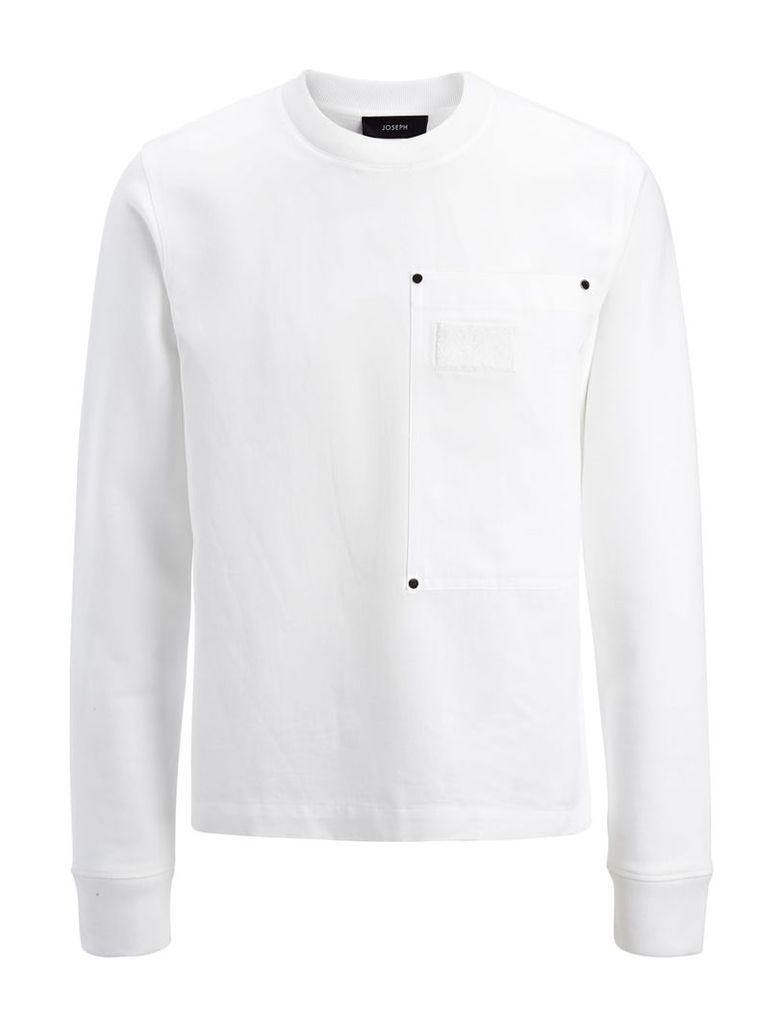 Linen Cotton + Sweatshirt Top in White