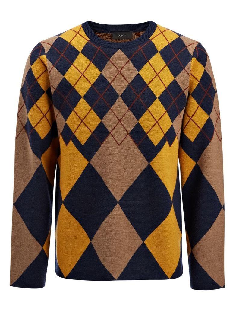 Argyle Knit Sweater in Navy
