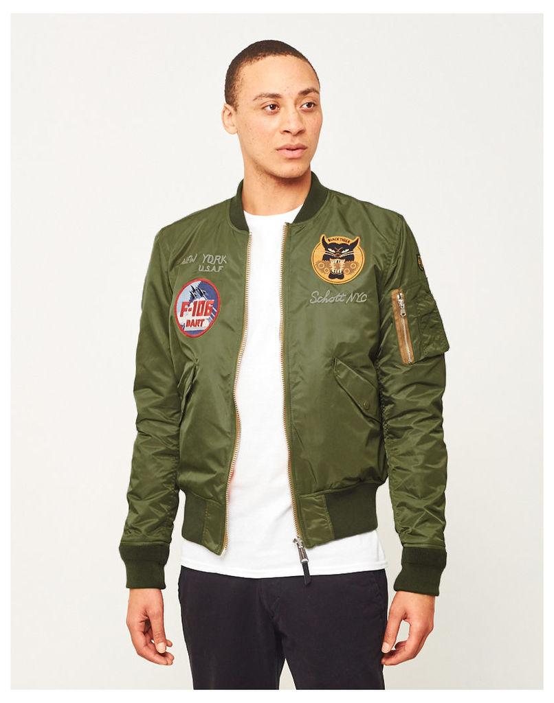 Schott Embroidered Souvenir Bomber Jacket Green