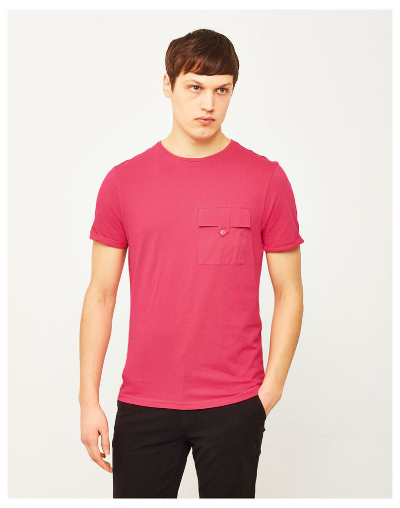 The Idle Man Button Pocket T-Shirt Pink