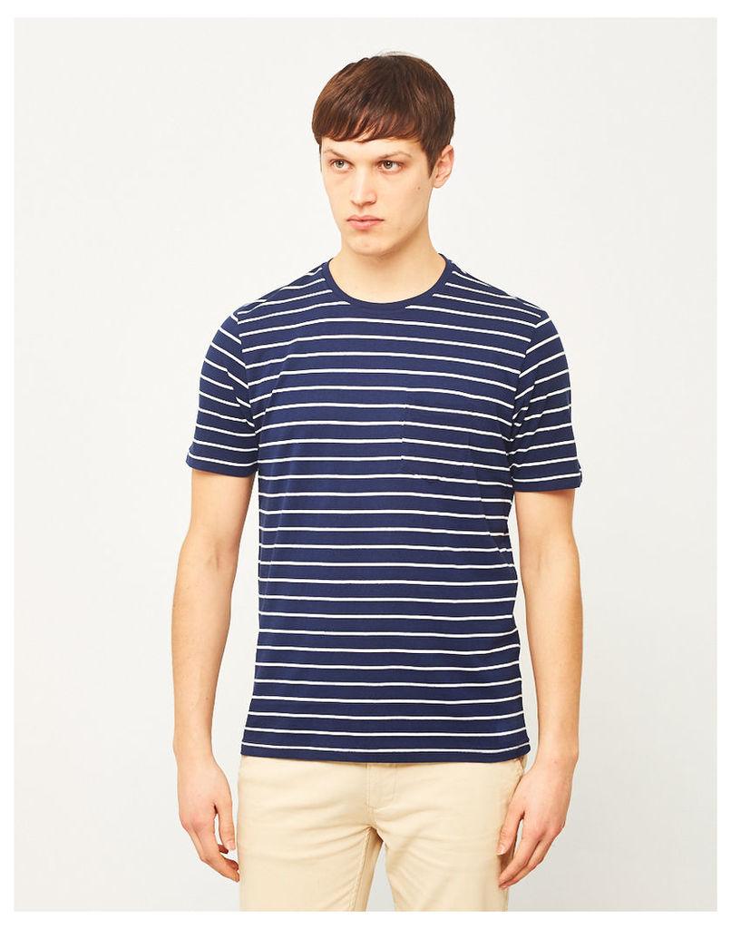 The Idle Man Yarn Dyed Stripe T-Shirt Navy