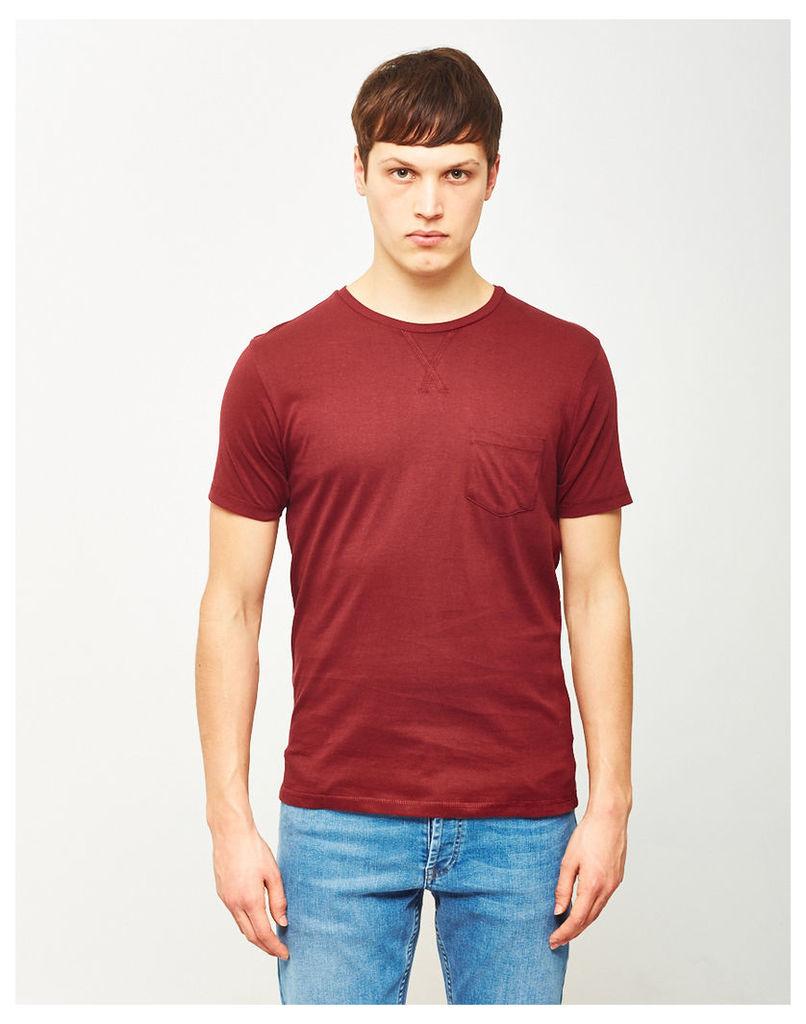 The Idle Man Basic Pocket T-Shirt Burgundy