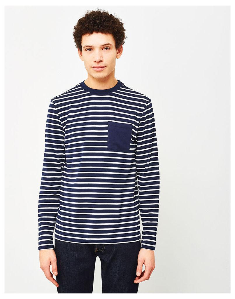 The Idle Man Breton Stripe Long Sleeve T-Shirt Navy