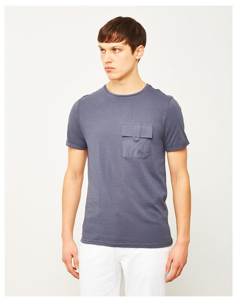 The Idle Man Button Pocket T-Shirt Navy