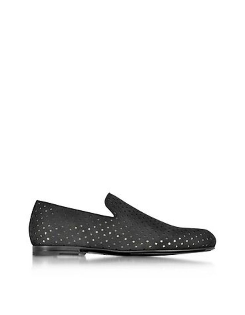 Jimmy Choo - Sloane Black Star Perforated Dry Suede Loafer