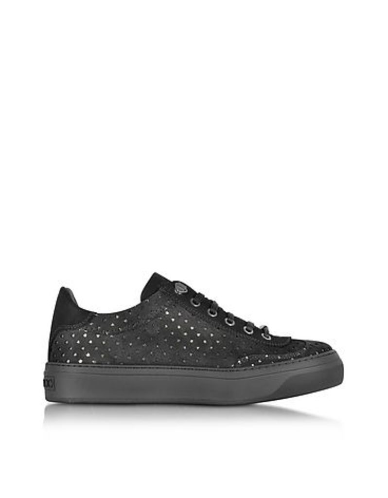 Jimmy Choo - Ace Black Star Perforated Dry Suede Low Top Sneaker
