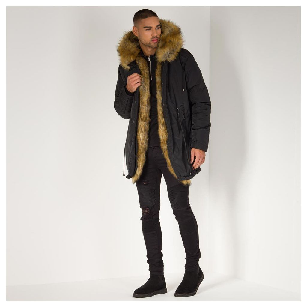 Maniere De Voir; Fur Lined Coat - Black/Tan