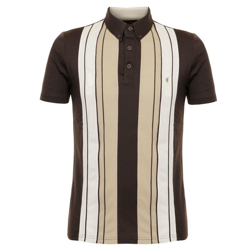 Gabicci Vintage Striped Coffee Polo Shirt V37GX10
