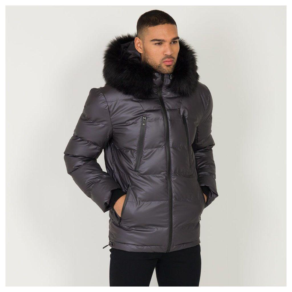 Maniere De Voir; Quilted Puffer Coat - Grey