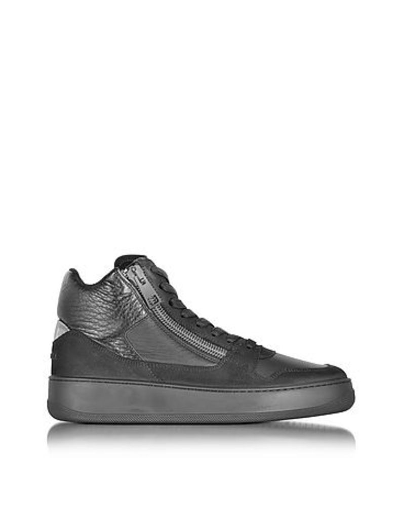 Hogan Rebel - Pure R28 Black Leather and Nubuck High Top Men's Sneaker