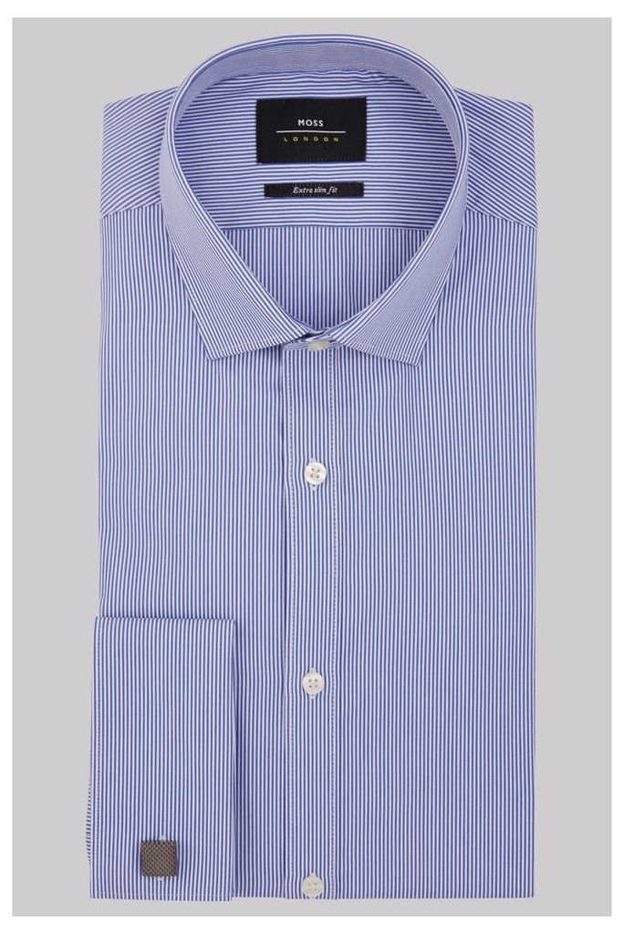 Moss London Premium Extra Slim Fit Navy Double Cuff Skinny Stripe Shirt