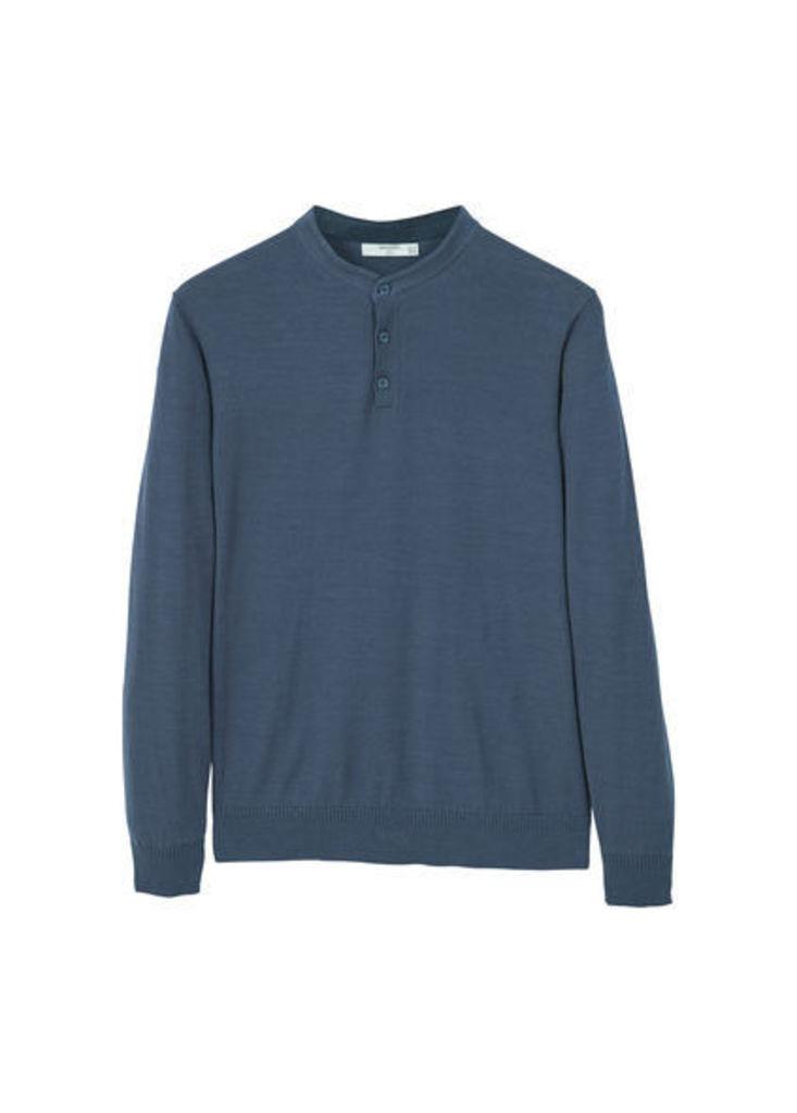 Henley cotton sweater