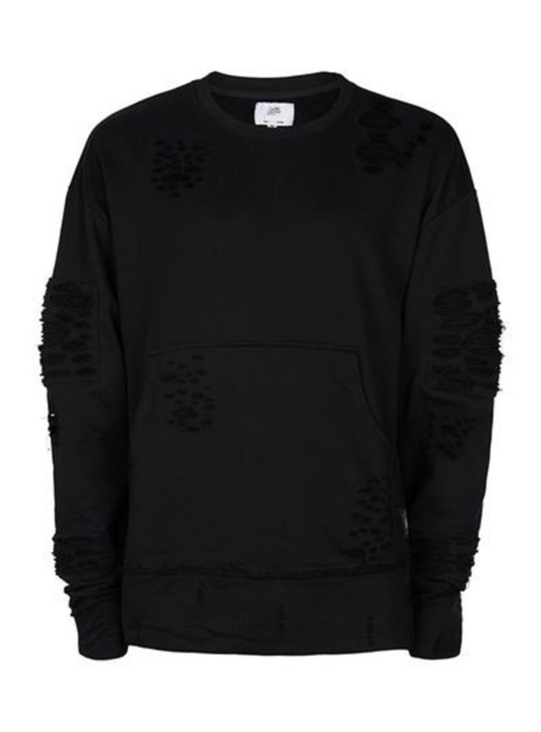 Mens SIXTH JUNE Black Distressed Sweatshirt, Black