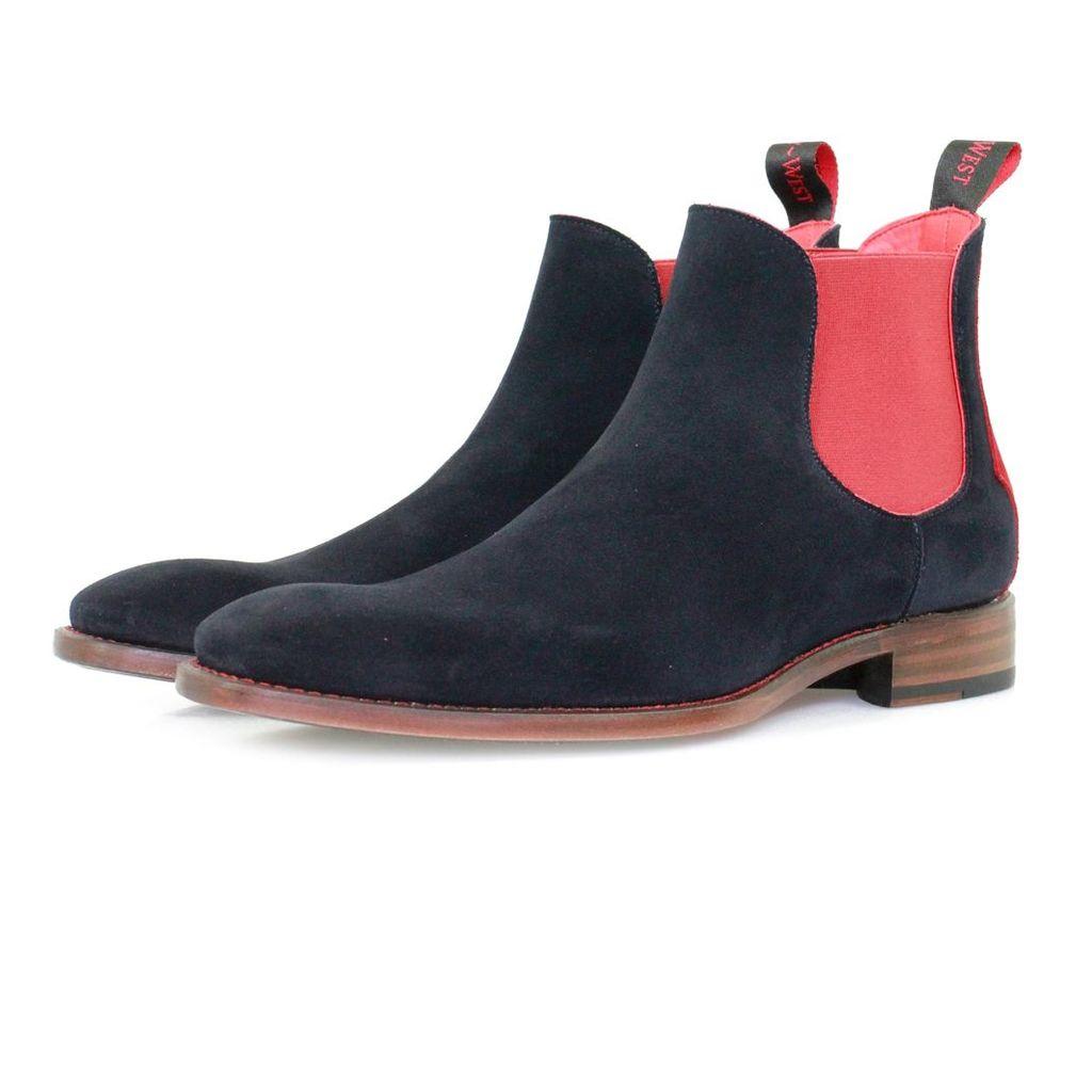 Jeffery West Horrorshow Libertine Navy Red Chelsea Boots