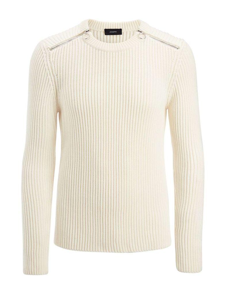 Cardigan Stitch Sweater in Off White