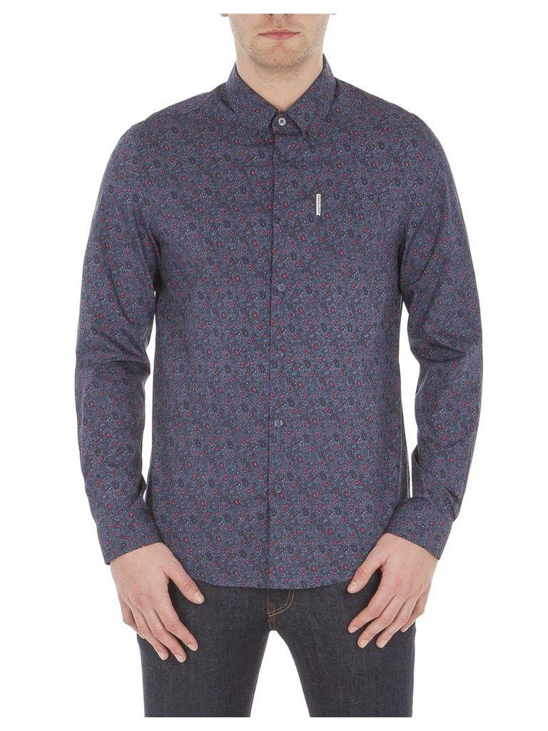 Long Sleeve Mod Print Paisley Shirt XXL B51 Navy Blazer