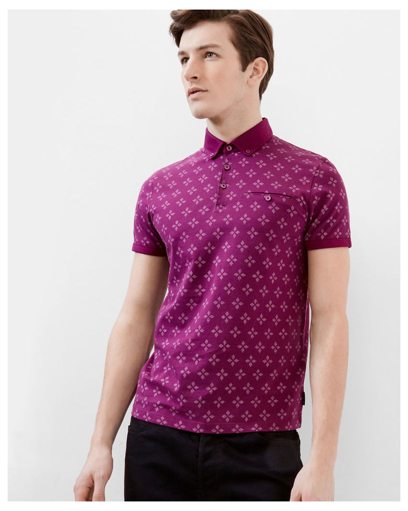 Ted Baker Diamond print polo shirt Purple