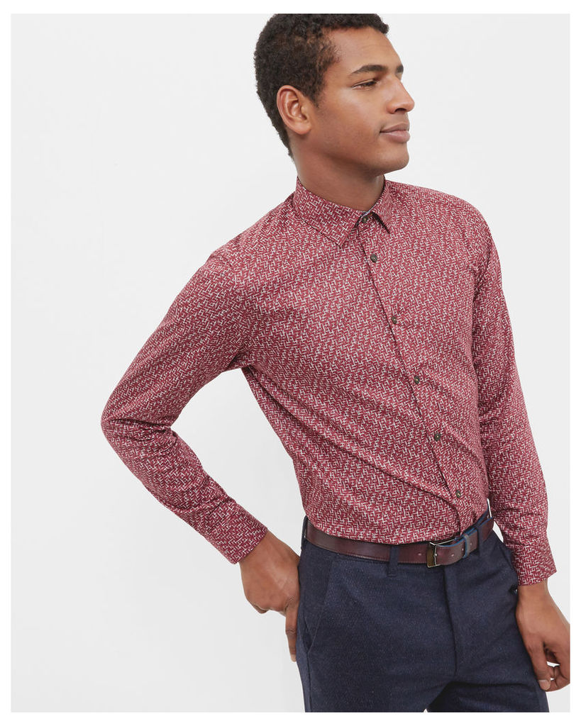 Ted Baker Squiggle design cotton shirt Red