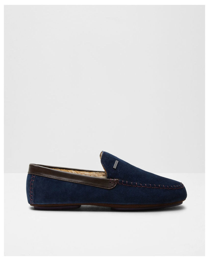 Ted Baker Contrast stitching moccasin slippers Blue