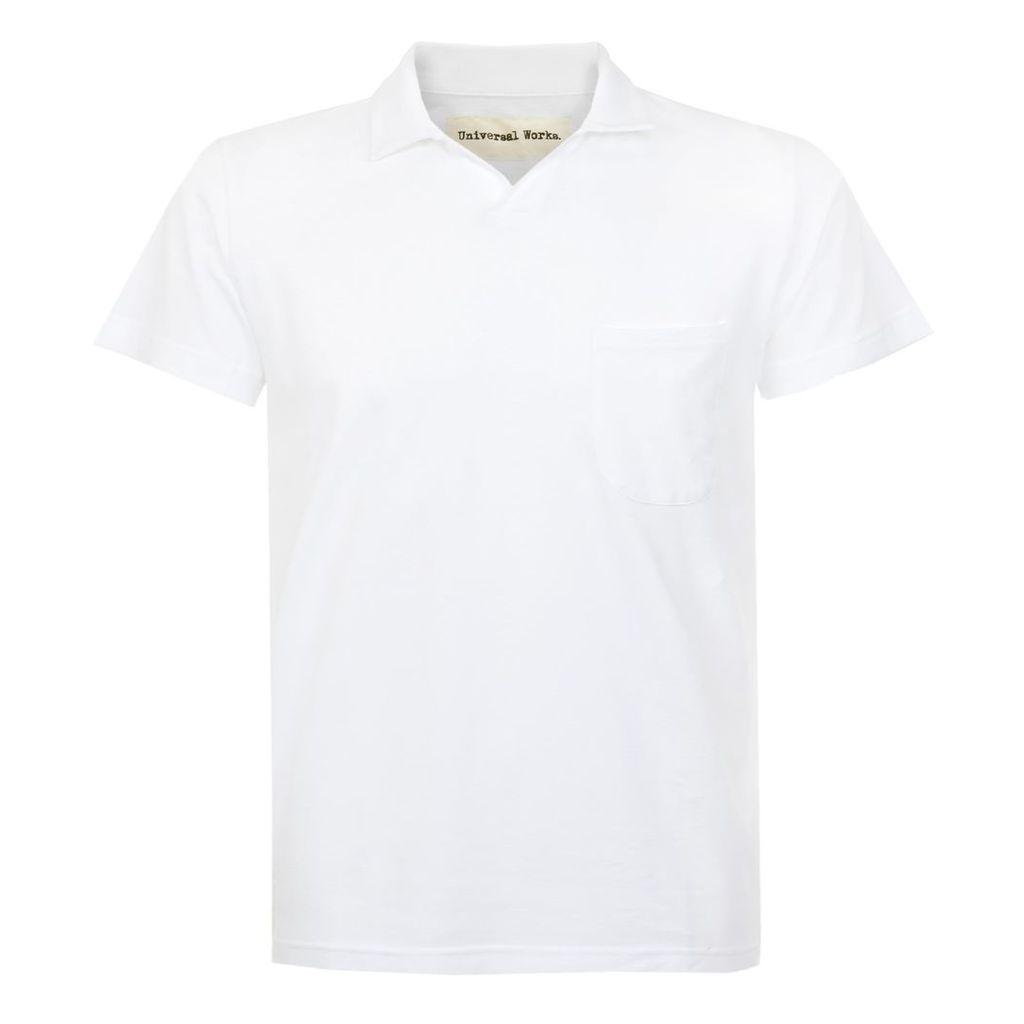 Universal Works Pique White Polo Shirt 16580