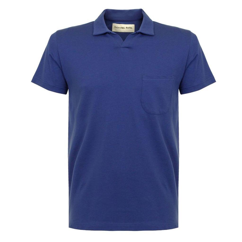 Universal Works Pique Royal Blue Polo Shirt 16580
