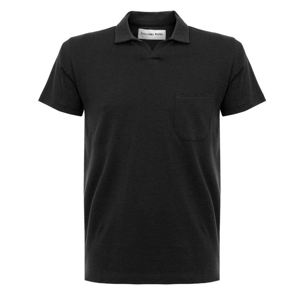 Universal Works Pique Black Polo Shirt 16580