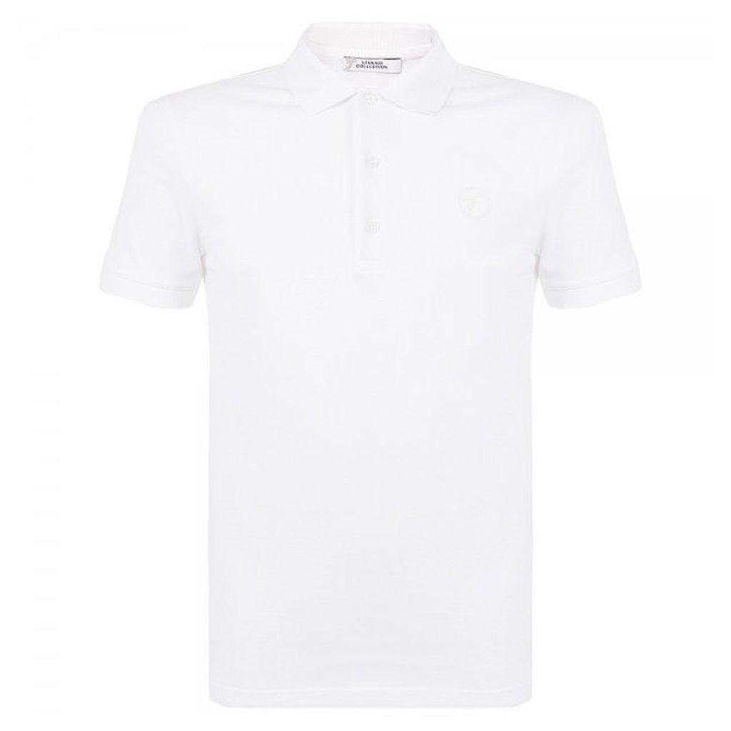 Versace Collection Bianco Ottico White Pique Polo Shirt V800543