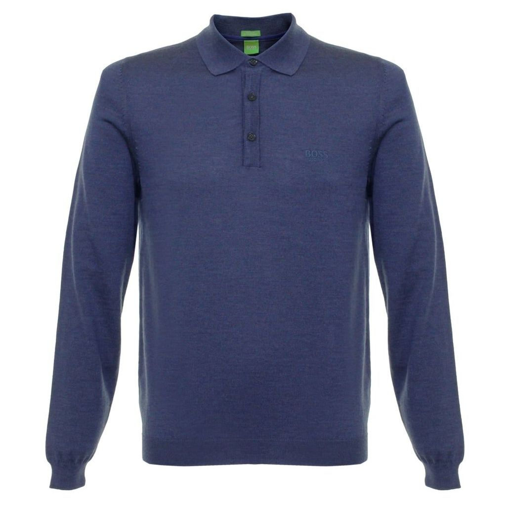 Boss Green C-Camus 01 Open Blue Knit Polo Shirt 50323391