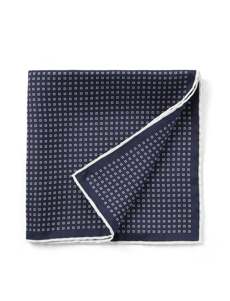 Silk Printed Pocket Square in Navy