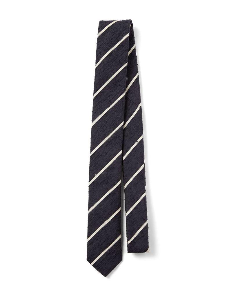 Silk Stripes Tie in Navyecru