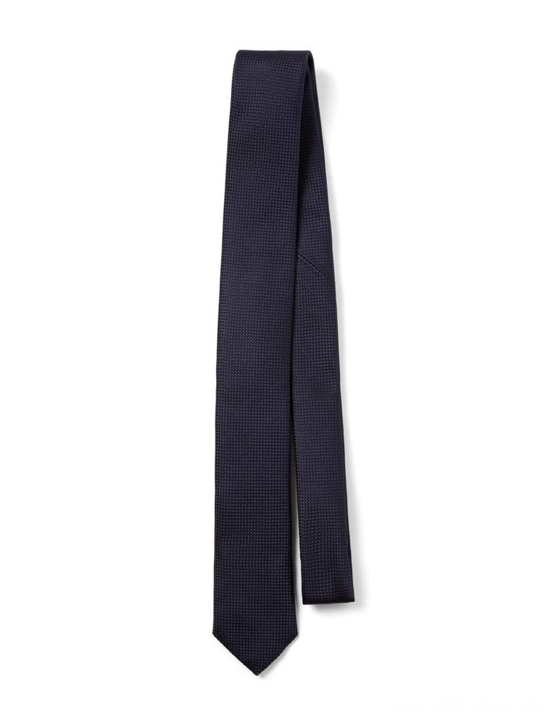 Ribbed Silk Tie in Navy