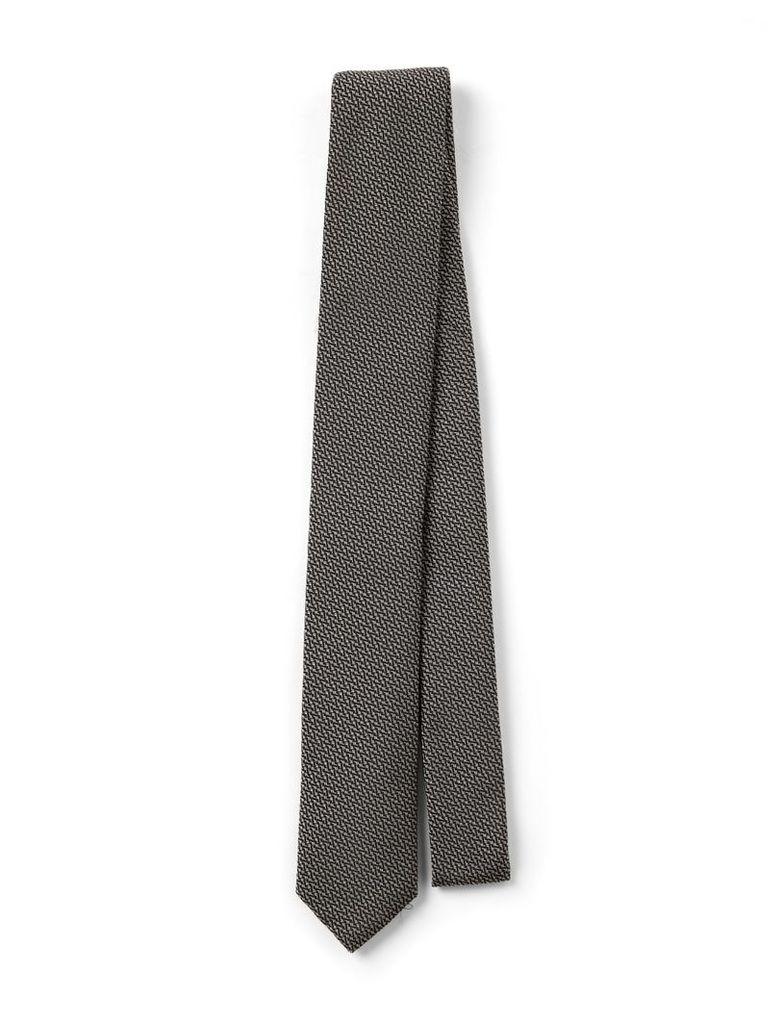 Printed Silk Tie in Black