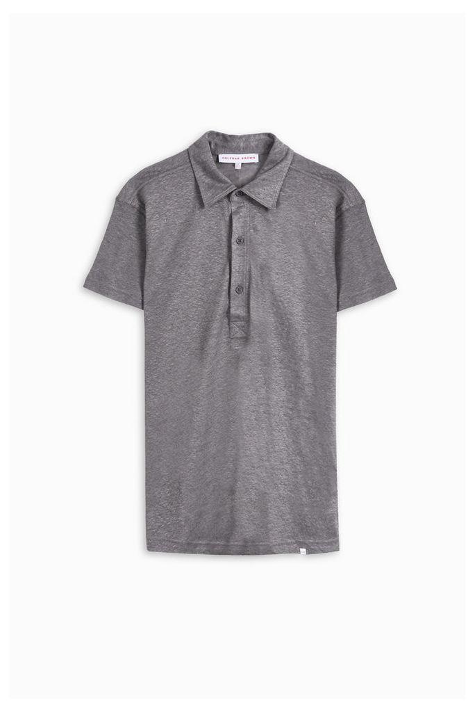 Orlebar Brown Men`s Branigan Linen Polo Shirt Boutique1