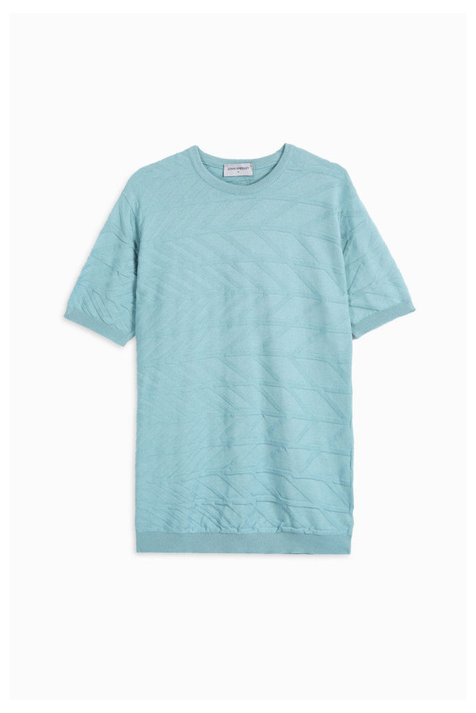 John Smedley Men`s Crew Neck Texture T-shirt Boutique1