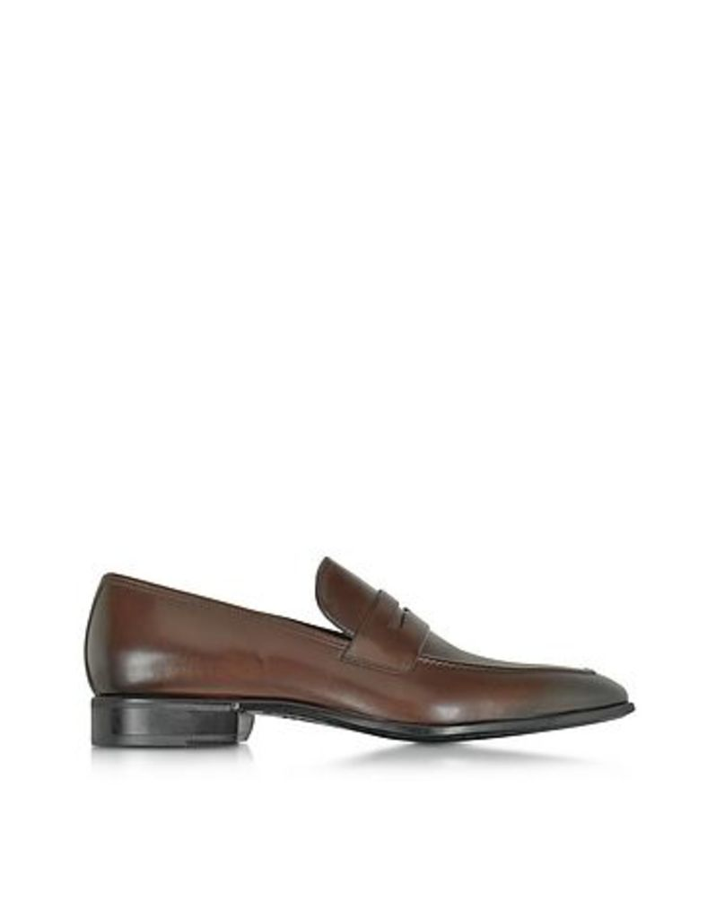 Moreschi - Liegi Dark Brown Buffalo Leather Loafer w/Rubber Sole